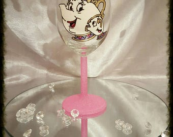 Mrs potts and chip Hand painted glass