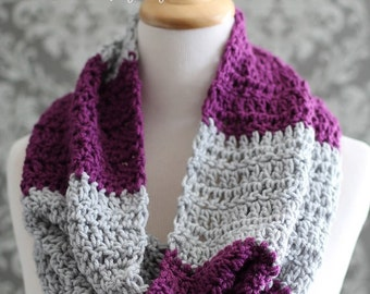 Crochet PATTERN - Infinity Scarf Pattern - Easy Striped Cowl Pattern - Crochet Patterns - Crochet Cowl - Pattern 351 - Teen Adult Ladies