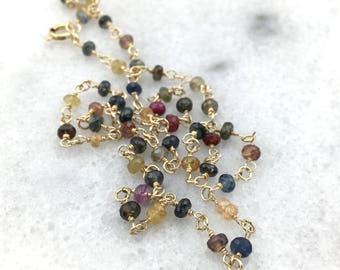 Precious Sapphires Multi Colored Faceted AAA Genuine Natural Necklace Wire Wrapped with 14k Gold Filled Wire - September Birthstone