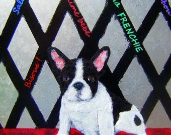 French Bulldog Art Print/Bisous,Salut,Je taime bebe,Vive la Frenchie,Mon boubou/by Original Mike Holzer