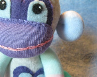 Swing - Best Friend Sock Monkey Plush - Blue Stripes Purple - Handmade Doll