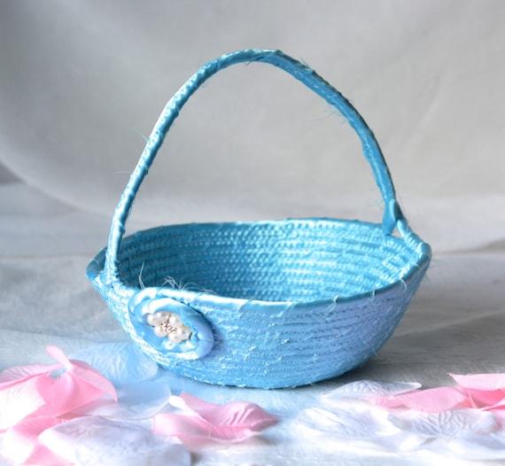 Flower Girl Basket, Handmade Blue Wedding Card Basket,  Blue Wedding Decor, Bridal Shower Gift, Powder Blue Gift Basket