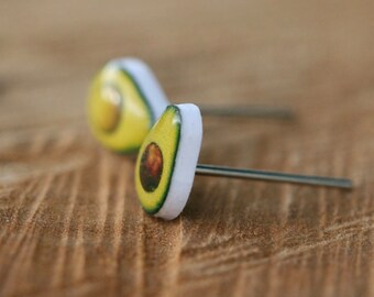 Avocado stud earrings, tiny and quirky.