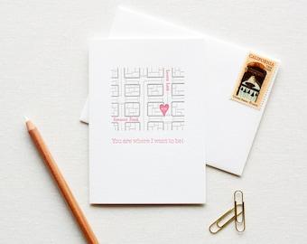 Letterpress Love Note City Street Map