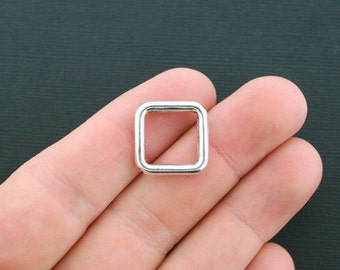 10 Square Charms Antique Silver Tone 2 sided Linking Connector Spacer Charms- SC4487