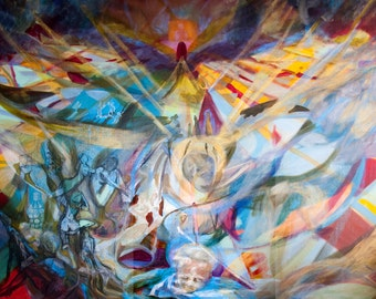 Ascension. Original oil painting on linen. 5' by 6'. Abstracted reality by RISD alum. Colorful, ethereal, spacious, meditative.