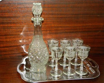 Vintage Wine Decanter 6 Glasses Tray Bar Set - Clear pressed Glass decanter silver leaf Glasses on Chrome Handle Tray for 6 - mid century