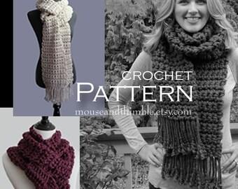 Long & Bulky / Knotted Fringe Scarf / Beginner / Crochet PATTERN / PDF 9810