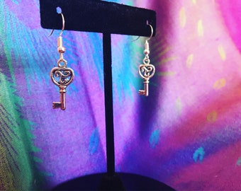 Key shaped dangle earrings