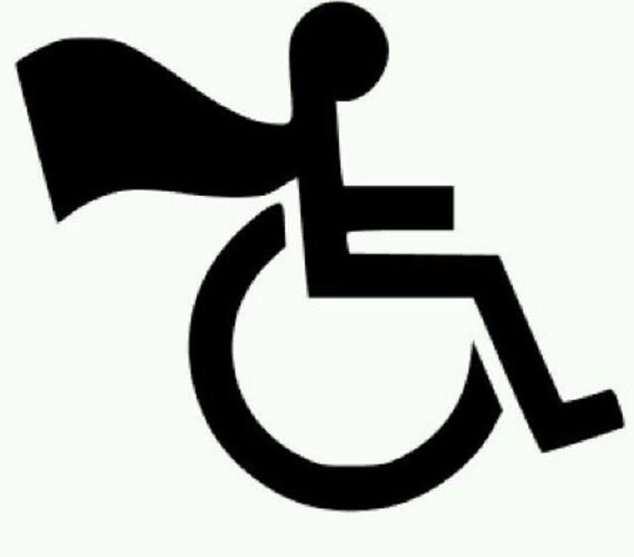 handicap wheelchair superman cape vinyl decal sticker rh etsy com Handicap Logo Clip Art Equal Housing Opportunity Logo