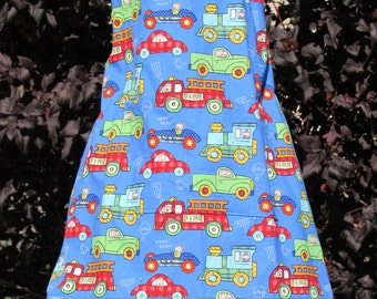 Child's 3/4 Apron with cars and trucks (#  398 ) Free shipping