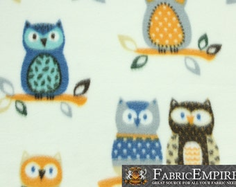 """Fleece Printed Fabric COUPLE OWLS WHITE / 58"""" Wide / Sold by the yard / N-1992"""