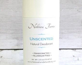 All Natural Deodorant - Natural Unscented Deodorant Stick - Aluminum Free Deodorant - Handmade Unscented Deoderant - 2.5 oz. Stick Deodorant