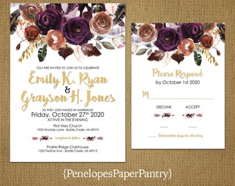 Elegant Plum Fall Wedding Invitation,Purple,Burnt Orange,Roses,White,Gold,Shimmery,Custom,Printed Invitation,Wedding Set,Envelopes