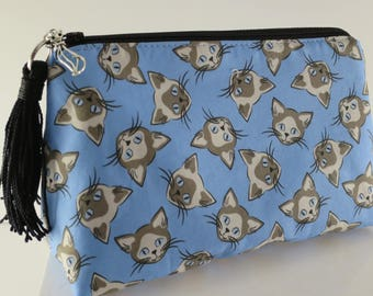 Siamese Cat Zipper Pouch is a Perfect Gift for the Cat Lover on your list! Blue Zipper Pouch is great for all your essentials!