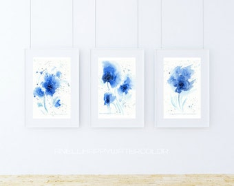 Set of 3 blue watercolor flower prints abstract watercolor blue print abstract flower painting fashion wall decor minimalist prints