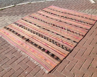 "Pale pink kilim, striped rug, 97"" x 79"", kilim rug, Vintage Turkish kilim, area rug, kelim rug, vintage rug, bohemian rug, Turkish rug, rug"