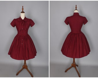 READY TO SHIP - Size L - Bonnie Dress in Solid Burgundy