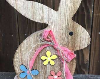 Wooden Bunny, Bunny Decor, Rustic Bunny, Rustic Decor, Rabbit Decor, Rustic Rabbit, Farmhouse Bunny, Spring Decor, Easter Decor Easter Bunny