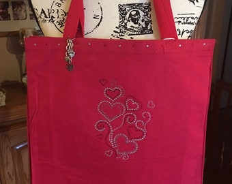 Pretty Bling Floating Hearts Tote Bag