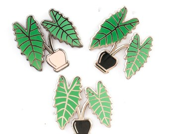 Alocasia Leaf Pin - Hard Enamel Pins - Alocasia Plant Pin Badge - Hard Enamel pin - Lapel Pin - Green Black Gold Silver Pretty Cute