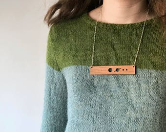 Solar system necklace with Pluto, science jewelry, science gift, astronomy gifts, bar necklace, anniversary gifts, statement jewelry