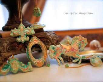 Blessing Ornaments Porcelain-Plaster Collection by Fae Factory Artist Dr Franky Dolan {Marie Antoinette Carousel Hanging Mobile Handmade}