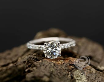 Certified 7mm/1.25 Carats Round Cut Forever One G-H Color Moissanite 14k White Gold Diamonds Engagement Ring (Bridal Wedding Set Available)