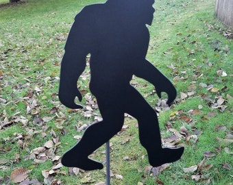 Bigfoot Garden Stake, Large Outdoor Metal Art, Black Metal Art, Sasquatch