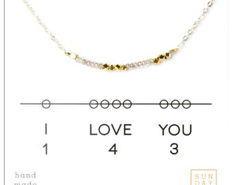 I love you 143, Pearl Seed Bead Necklace.   Gift Christmas Gift for Her