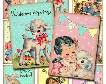 INSTANT DOWNLOAD, Easter Printable, Digital Collage Sheet of Retro Vintage Kids, ATC sized tags, labels, scrapbooking