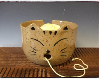 Super Cute Tabby Cat Yarn Bowl by misunrie