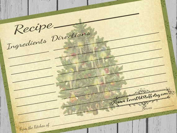 Printable Christmas Recipe Cards  X Blank Recipe Cards  X