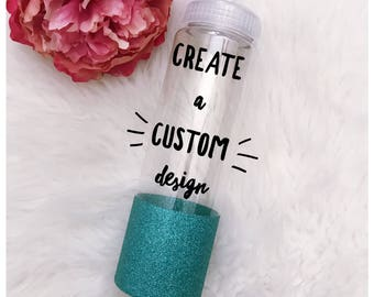 CUSTOM Design on a 32oz Pop Top Glitter Dipped Water Bottle