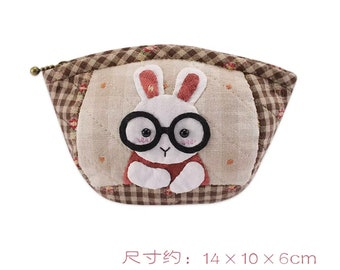 Japanese fabic patchwork cosmetic bag / bunny bag