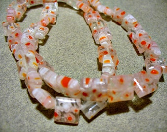 Glass  Beads Red White Clear Square 8x8MM