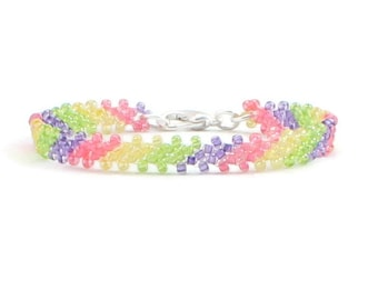 Girl's Rainbow Beaded Bracelet - Seed Bead Children's Jewelry - Child's Friendship Layering Bracelet - Kids Stocking Stuffer Gifts for Girls
