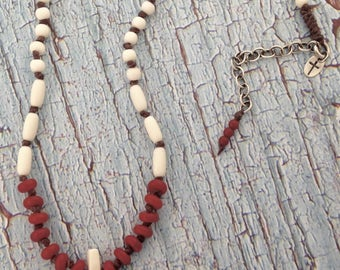 Red Coral EVE-Necklace-Sterling Clasp & Accents/Natural Bone
