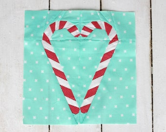 Candy Cane Heart Paper Pieced (FPP) PDF Pattern