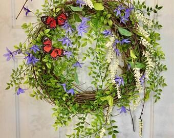 Front Door Wreath, Summer Wreath, Spring Wreath, Easter Wreath, Farmhouse Wreath, Rustic Grapevine Wreath