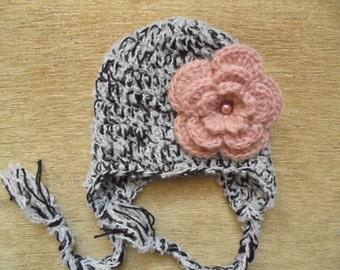 Crochet earflap hat Baby girl hat Wool baby hat Baby girl outfit Baby girl winter hat Newborn girl hat Crochet baby hat Baby earflap hat