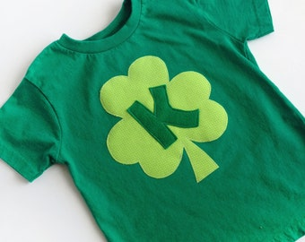 St. Patrick's Day Green Shamrock Initial T-Shirt kids and toddlers