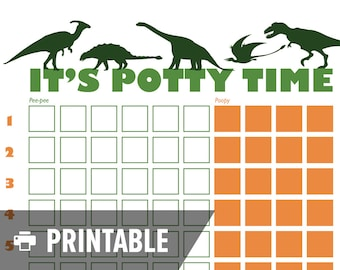 """Potty Training Chart - Dinosaur """"It's Potty Time"""" - INSTANT DOWNLOAD - Printable jpg"""