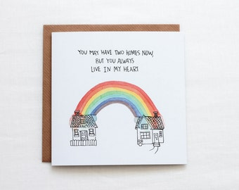 Two Homes, You Live In My Heart Greeting Card, Divorce card for kids, separated parents card, i love my kids card, Miss my kids, love always