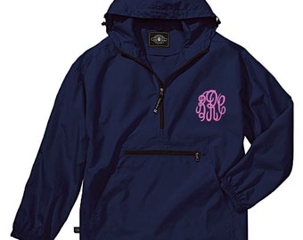 Personalized Unisex Pack n Go | Windbreaker Rain Jacket | Monogrammed Wind Breaker | Unisex Raincoat | Hooded Windbreaker | Navy Pack N Go