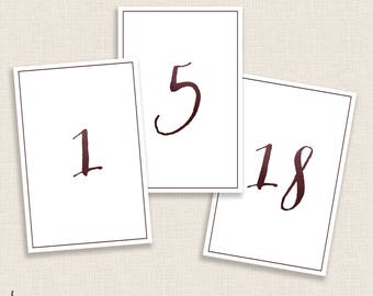 REVERSE BURGUNDY - DIY Printable Table Numbers  - 4x6 Digital Design - Numbers 1-20 - Painted Watercolor and Calligraphy - Instant Download