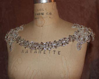 Shoulder necklace, Shoulder Jewelry, Silver Shoulder Necklace, Bridal Shoulder Necklace Jewelry, Shoulder Piece,  Crystal Bolero