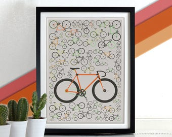Fixie Print Poster Art Bicycle Bike  Wall Art Home Décor cycling