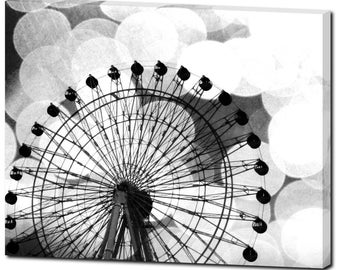 Bokeh Canvas - Large Canvas - Ferris Wheel Canvas - Carnival Ride - Black White - Wall Art - Ferris Wheel Art - Kid Art Decor 24 x 30 Canvas