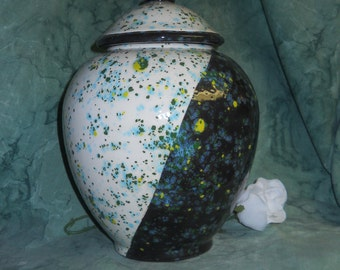 Black and white cremation urn,Ceramic jar with lid,urn, Jar with lid,large urn, large jar, art pottery, handmade